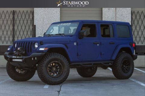"Pre-Owned 2018 Jeep Wrangler Unlimited 4"" LIFT 35"" TIRES OCEAN BLUE"